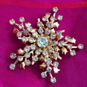 Vintage snowflake rhinestone brooch silver tone